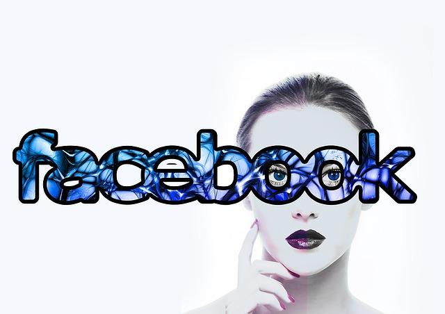 フェイスブック文字と女性の顔画像
