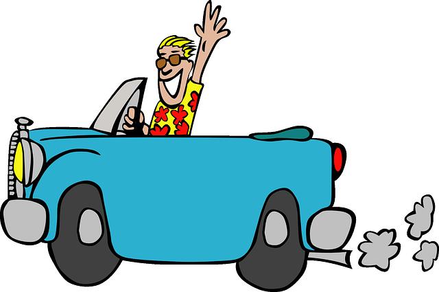 楽しそうにドライブをしている男の画像