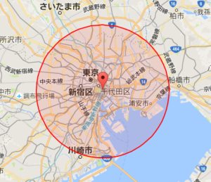 東京から半径17kmの画像